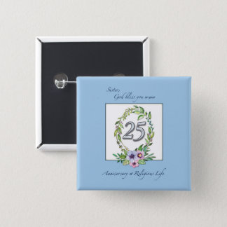 25th Anniversary of Catholic Nun Wreath and Silver 2 Inch Square Button