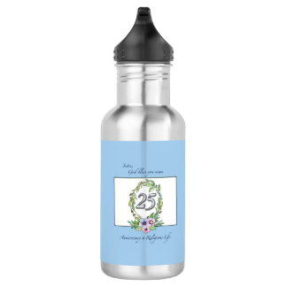 25th Anniversary of Catholic Nun Wreath and Silver 532 Ml Water Bottle