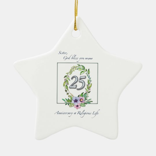 25th Anniversary of Catholic Nun Wreath and Silver Ceramic Ornament