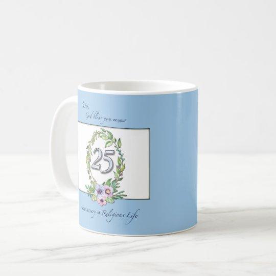25th Anniversary of Catholic Nun Wreath and Silver Coffee Mug