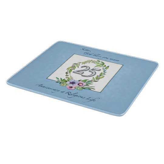 25th Anniversary of Catholic Nun Wreath and Silver Cutting Board