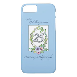 25th Anniversary of Catholic Nun Wreath and Silver iPhone 8/7 Case