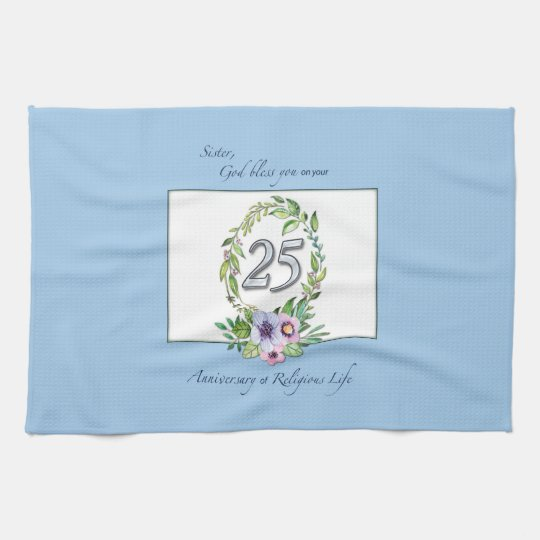 25th Anniversary of Catholic Nun Wreath and Silver Kitchen Towel