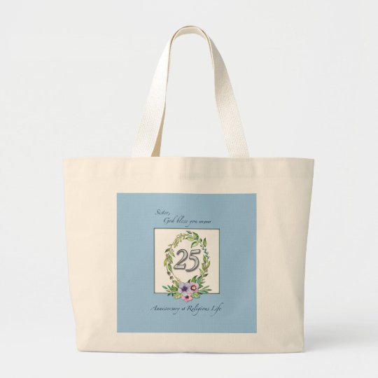 25th Anniversary of Catholic Nun Wreath and Silver Large Tote Bag
