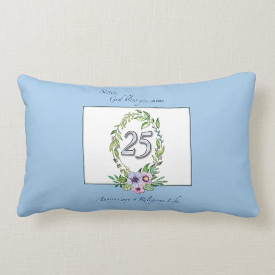 25th Anniversary of Catholic Nun Wreath and Silver Lumbar Pillow