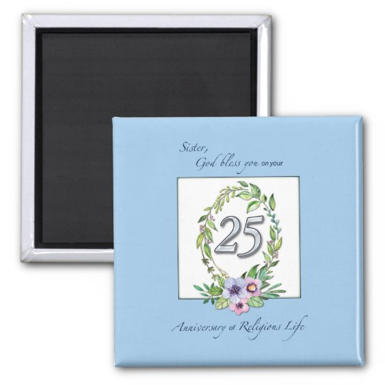 25th Anniversary of Catholic Nun Wreath and Silver Magnet