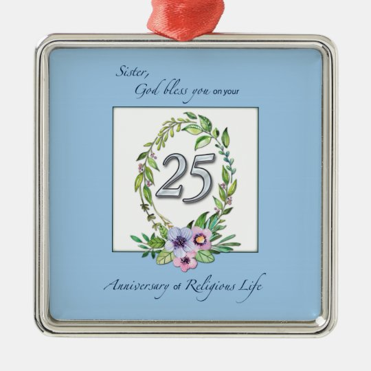 25th Anniversary of Catholic Nun Wreath and Silver Metal Ornament