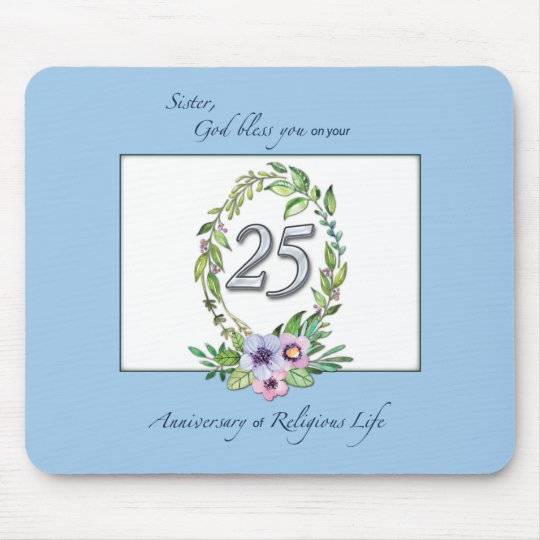 25th Anniversary of Catholic Nun Wreath and Silver Mouse Pad