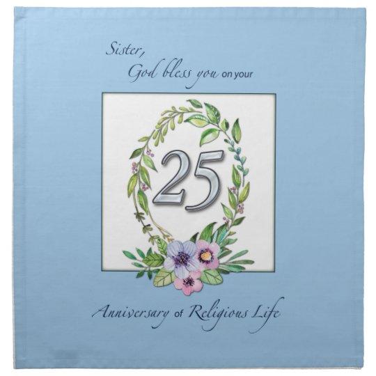 25th Anniversary of Catholic Nun Wreath and Silver Napkin