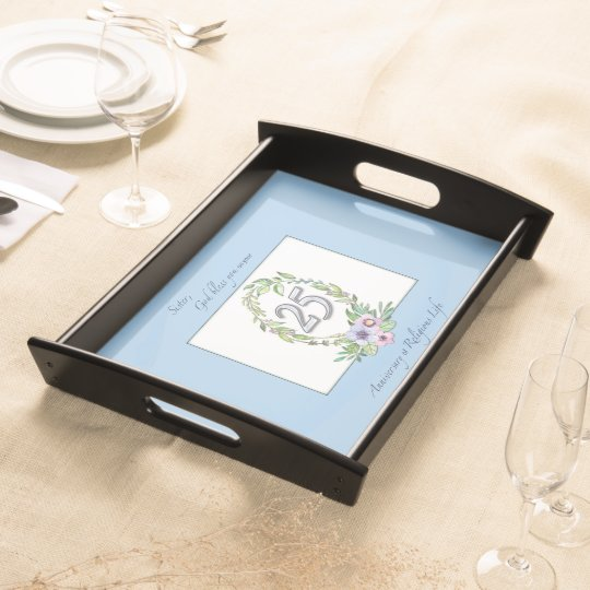 25th Anniversary of Catholic Nun Wreath and Silver Serving Tray
