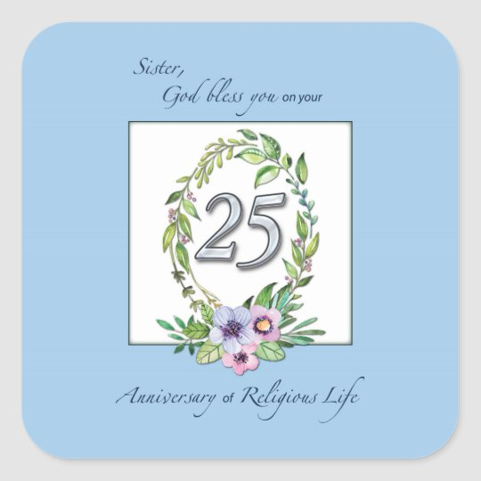 25th Anniversary of Catholic Nun Wreath and Silver Square Sticker