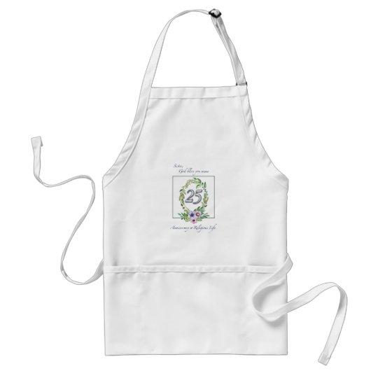 25th Anniversary of Catholic Nun Wreath and Silver Standard Apron
