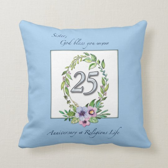 25th Anniversary of Catholic Nun Wreath and Silver Throw Pillow