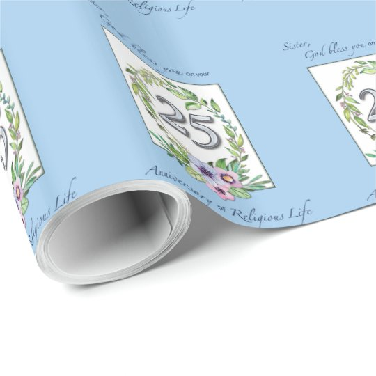 25th Anniversary of Catholic Nun Wreath and Silver Wrapping Paper