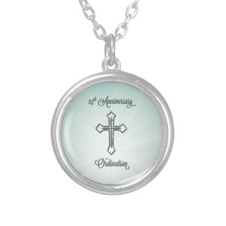 25th Anniversary of Ordination, Round, Gift Silver Plated Necklace