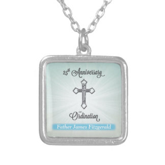 25th Anniversary of Ordination, Square Gift Silver Plated Necklace
