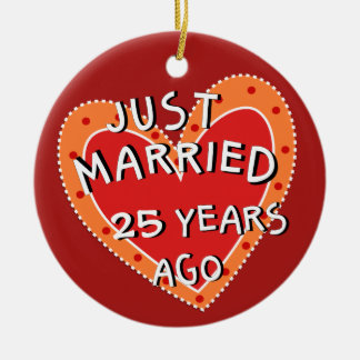 25th Anniversary or Any Yr Keepsake Christmas Gift Ceramic Ornament