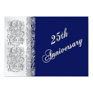 25th Anniversary Ornate Silver Scrolls with Navy Custom Invites