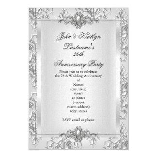"25th Anniversary Party Damask Silver White 3.5"" X 5"" Invitation Card"