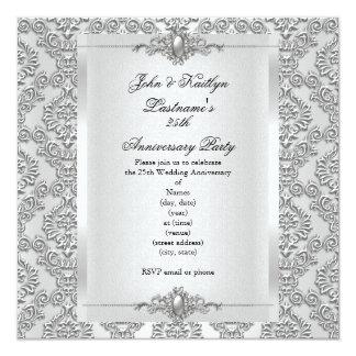 "25th Anniversary Party Damask Silver White 5.25"" Square Invitation Card"