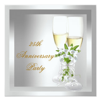 25th Anniversary Party Gold Silver Floral Card