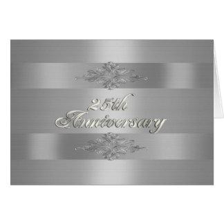 25th anniversary party invitation silver satin