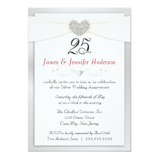25th Anniversary Party Invitation  Vintage Silver