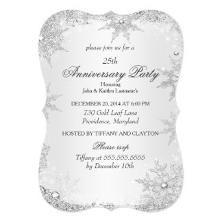 "25th Anniversary Party Silver Winter Wonderland 5"" X 7"" Invitation Card"