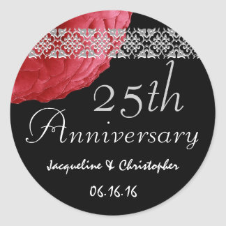 25th Anniversary RED SILVER BLACK Rose Sticker