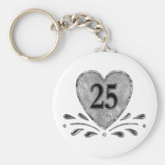 25th Anniversary - Silver Basic Round Button Keychain