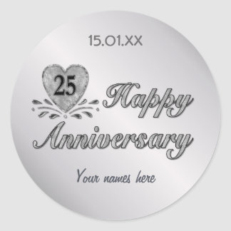 25th Anniversary - Silver Classic Round Sticker