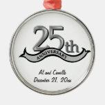 25th Anniversary Silver Keepsake Ornament
