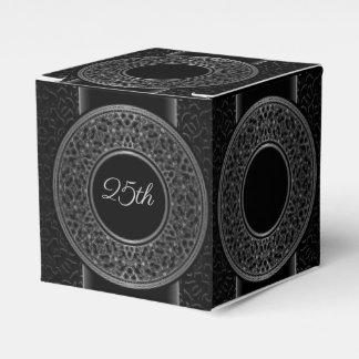 25th Anniversary Silver Medallion Cube Favor Box