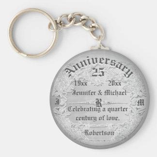25th Anniversary Silver Monogram Basic Round Button Keychain