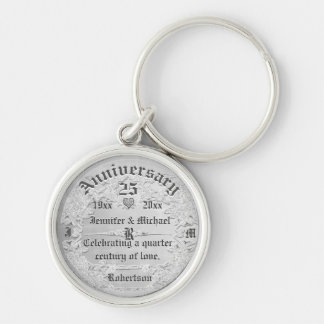 25th Anniversary Silver Monogram Silver-Colored Round Keychain