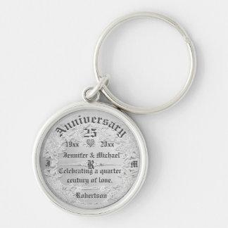 25th Anniversary Silver Monogram Silver-Colored Round Keychain