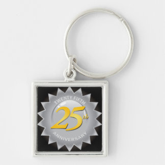 25th Anniversary Silver Seal Silver-Colored Square Keychain