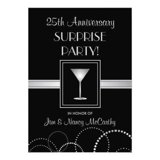 25th Anniversary Surprise Party Custom Invitations