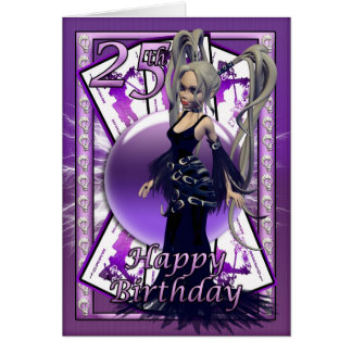 25th Birthday card with Gothic Doll, cards, orb