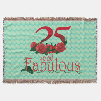 25th birthday diva red rose 25 flower blanket throw blanket