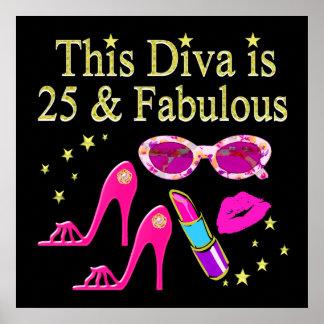 25TH BIRTHDAY FABULOUS DIVA DESIGN POSTER