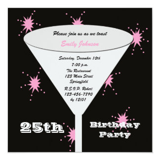 25th Birthday Party Invitation Pink 25th Toast
