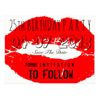 25th Birthday Party Save The Date Red Lips Postcard