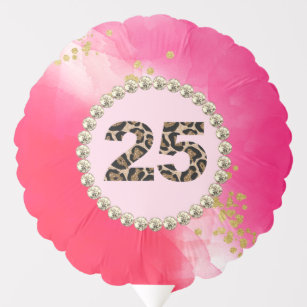 25th Birthday Party Watercolor Pink Red Rhinestone Balloon