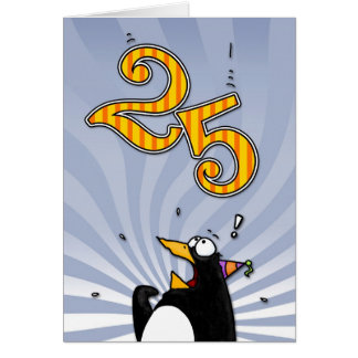 25th Birthday - Penguin Surprise Card