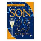 25th Birthday Son - Champagne Glass Card