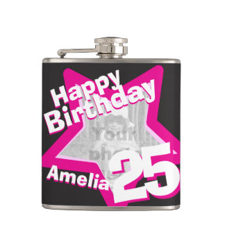 25th birthday star photo girls hip flask