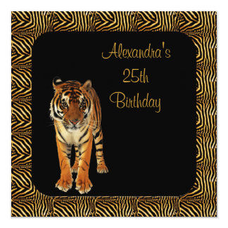 25th Birthday Tiger with Animal Print Frame Card