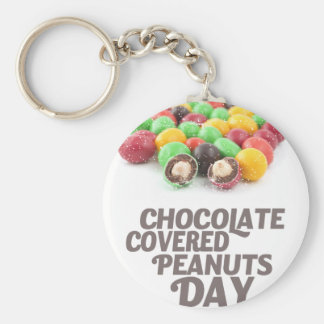 25th February - Chocolate-Covered Peanuts Day Basic Round Button Keychain