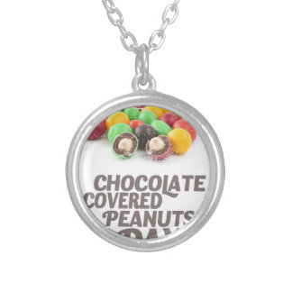 25th February - Chocolate-Covered Peanuts Day Silver Plated Necklace
